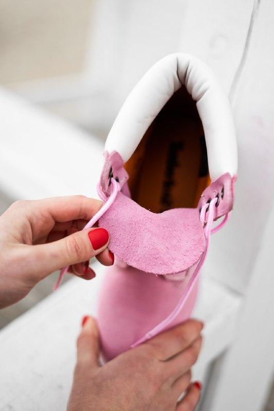 Шикарные женские демисезонные ботинки timberland pink (термо) - Фото 7