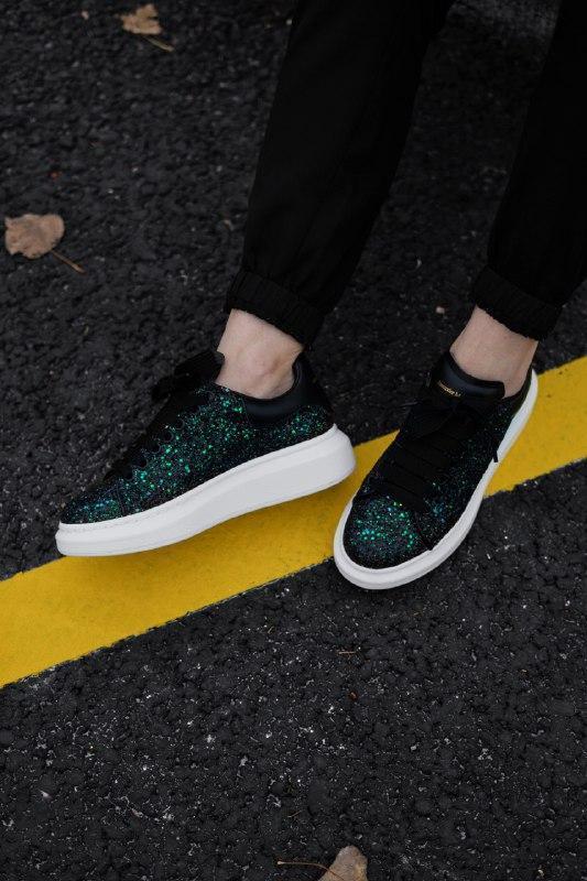 Шикарные женские кроссовки alexander mcqueen  galaxy green - Фото 2