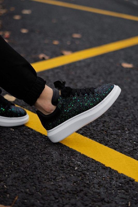 Шикарные женские кроссовки alexander mcqueen  galaxy green - Фото 3