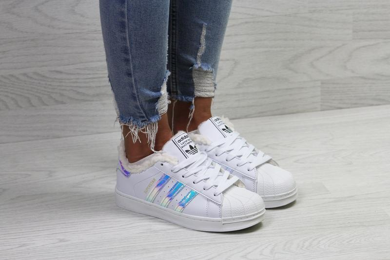 Шикарные зимние  женские кроссовки adidas superstar winter  с ...