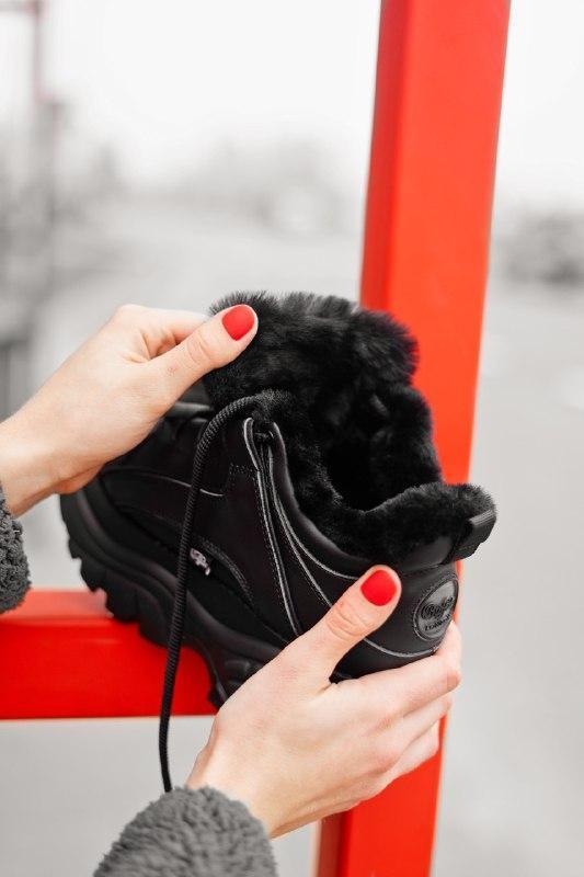 Шикарные женские зимние кроссовки buffalo london black (мех) - Фото 8
