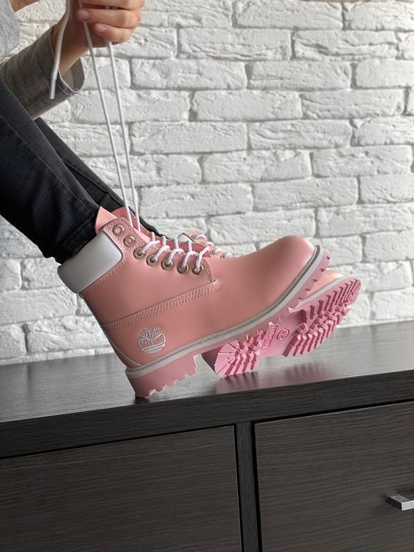 Шикарные женские зимние ботинки timberland pink