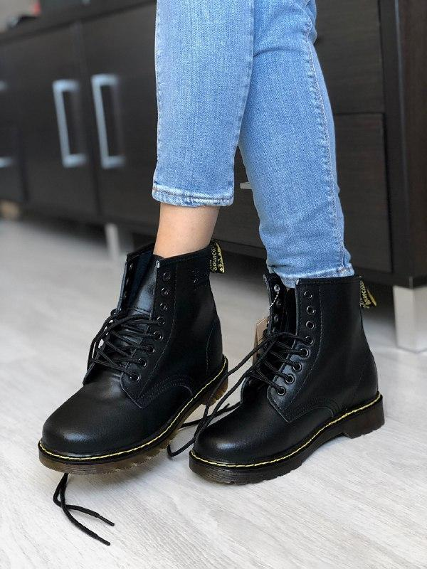 Шикарные женские зимние ботинки  dr. martens 1460 classic black