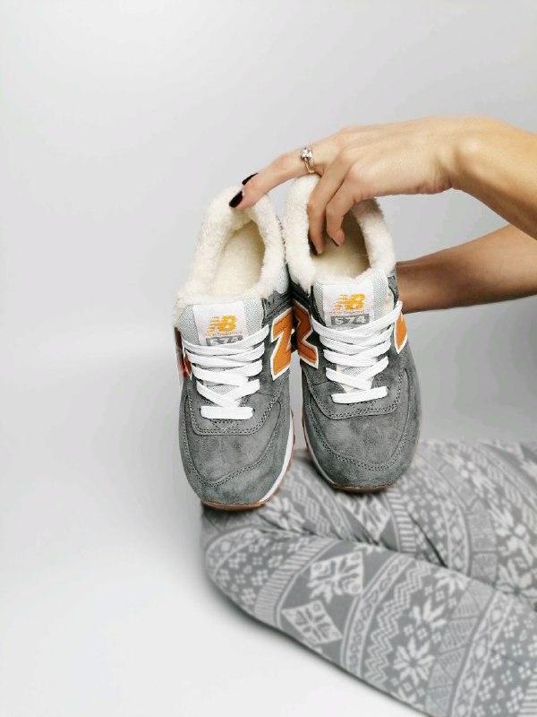 Шикарные женские зимние кроссовки  с мехом  new balance 574 gr...