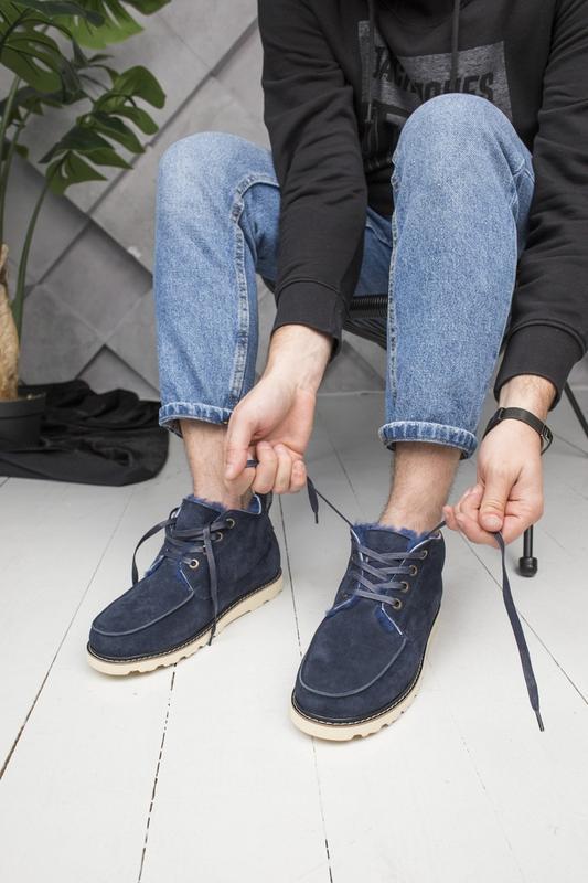 Шикарные мужские зимние ботинки  угги ugg  с натуральным мехом - Фото 2