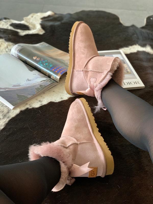 Шикарные женские зимние сапоги угги ugg bailey bow mini pink  ... - Фото 3