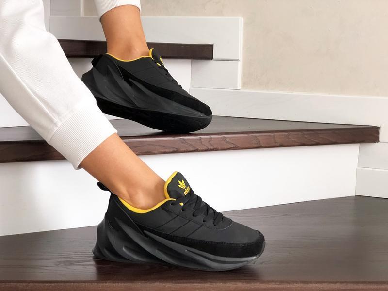 Шикарные женские зимние кроссовки adidas sharks  black/yellow ...
