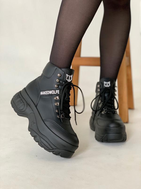 Шикарные женские зимние ботинки naked wolfe black