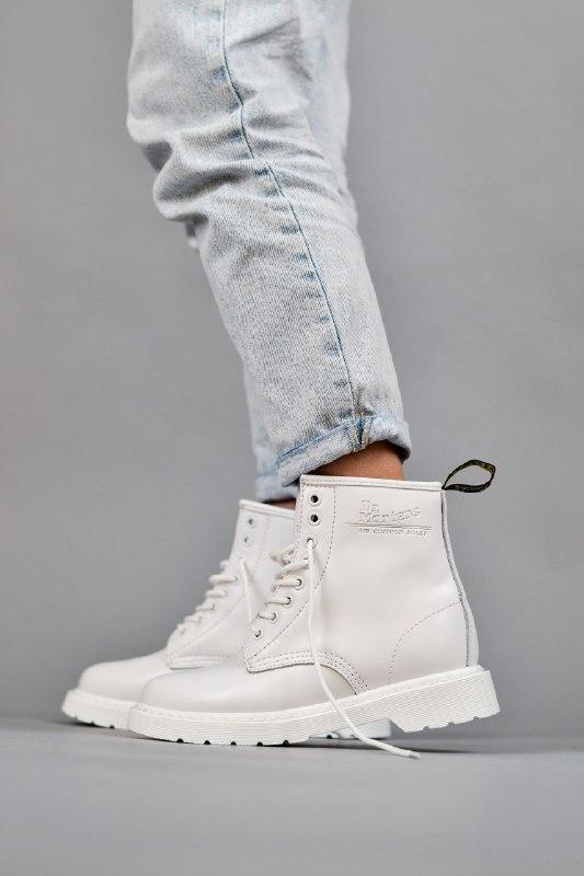 Шикарные женские зимние ботинки dr. martens 1460 mono white с ...
