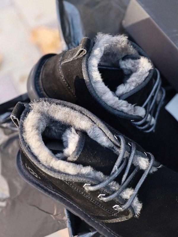 Шикарные мужские зимние угги ugg neumel black на меху - Фото 5
