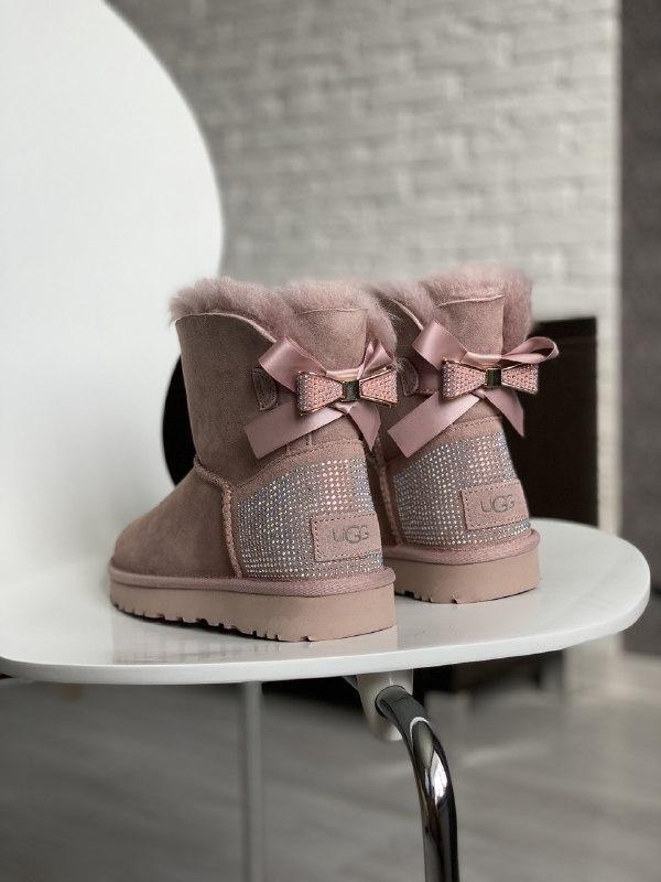 Шикарные женские зимние угги ugg bailey bow mini pink diamond ...