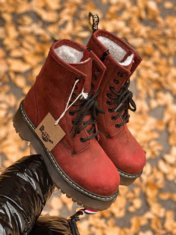Шикарные женские зимние ботинки dr. martens jadon bordo high fur