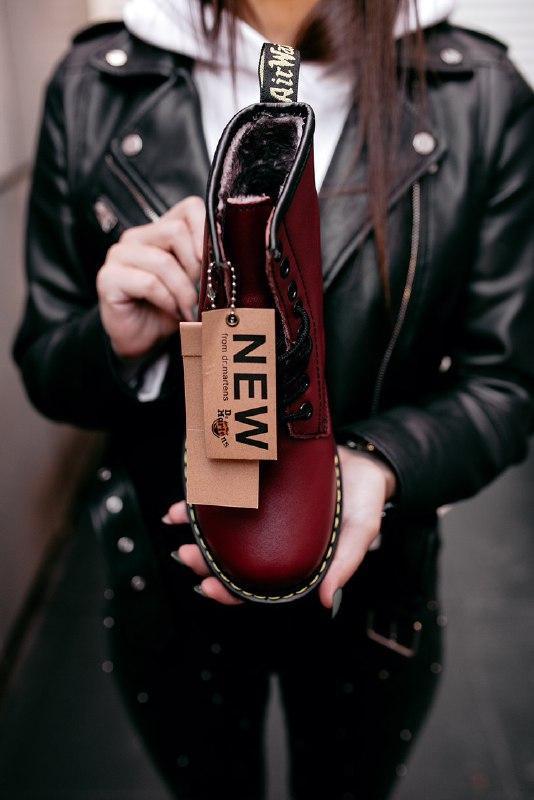 """Шикарные женские зимние ботинки dr.martens 1460 """"cherry red"""" - Фото 4"""