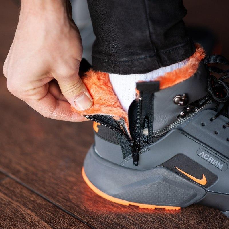 Шикарные мужские зимние кроссовки  с мехом  nike air huarache ... - Фото 3