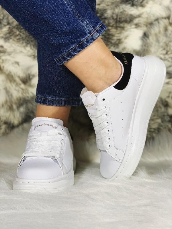 Шикарные женские кроссовки alexander mcqueen white/black - Фото 5