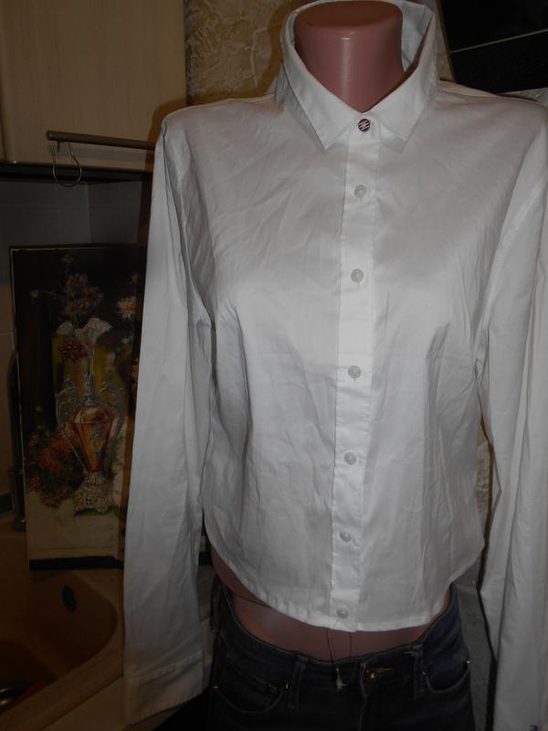 #tommy hilfiger# стильная белоснежная стрейчевая рубашка# шри-... - Фото 4
