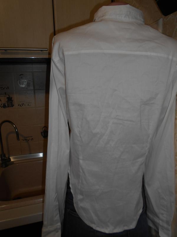 #tommy hilfiger# стильная белоснежная стрейчевая рубашка# шри-... - Фото 5