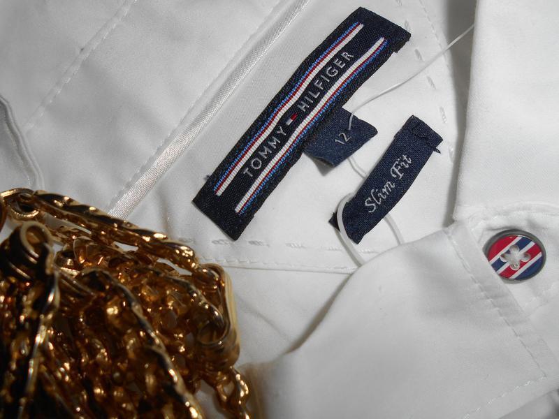 #tommy hilfiger# стильная белоснежная стрейчевая рубашка# шри-... - Фото 3