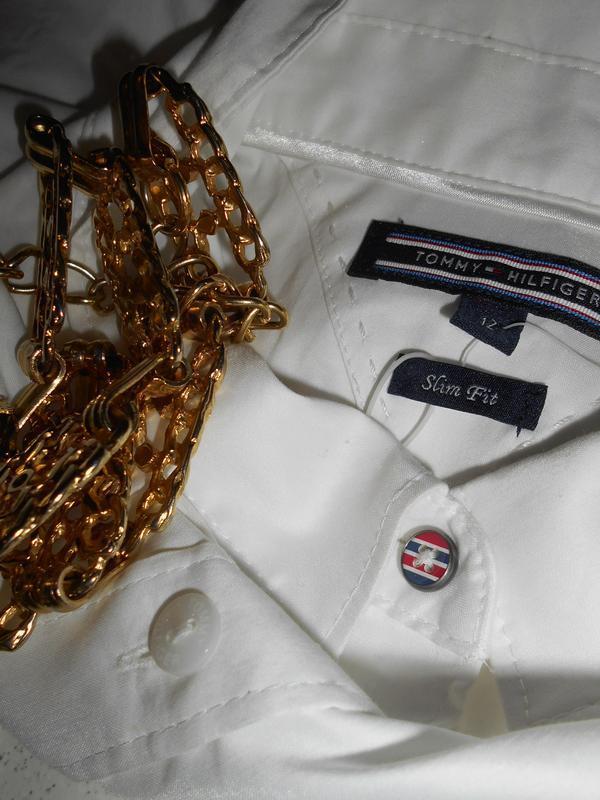 #tommy hilfiger# стильная белоснежная стрейчевая рубашка# шри-...