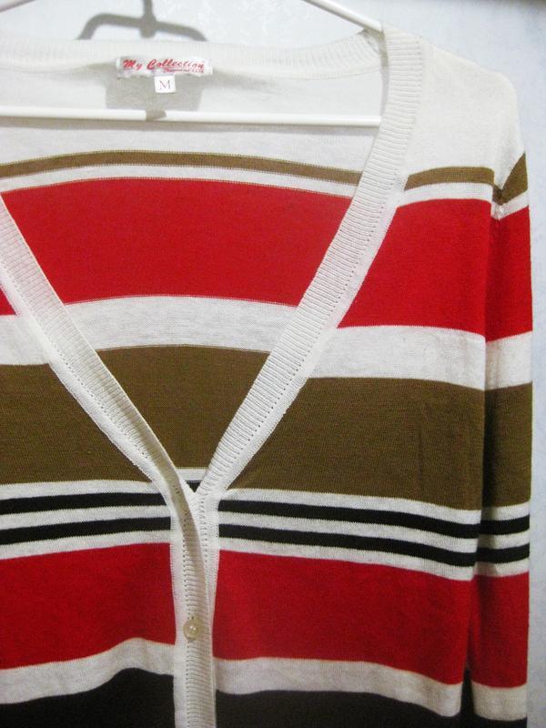 Джемпер пуловер кофта my collection paris в полоску красный ко... - Фото 2