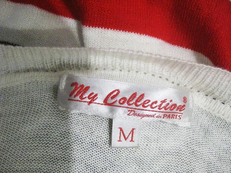 Джемпер пуловер кофта my collection paris в полоску красный ко... - Фото 3