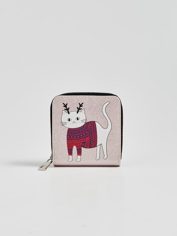 Новый светло-розовый пудра кошелек польша принт новый год кот ...