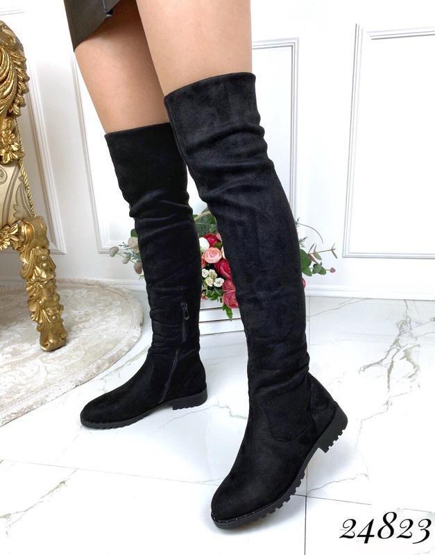 Зимние сапоги ботфорты чёрного цвета,замшевые ботфорты на низк... - Фото 2