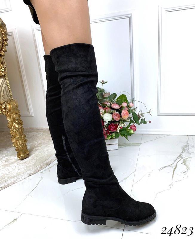 Зимние сапоги ботфорты чёрного цвета,замшевые ботфорты на низк... - Фото 3