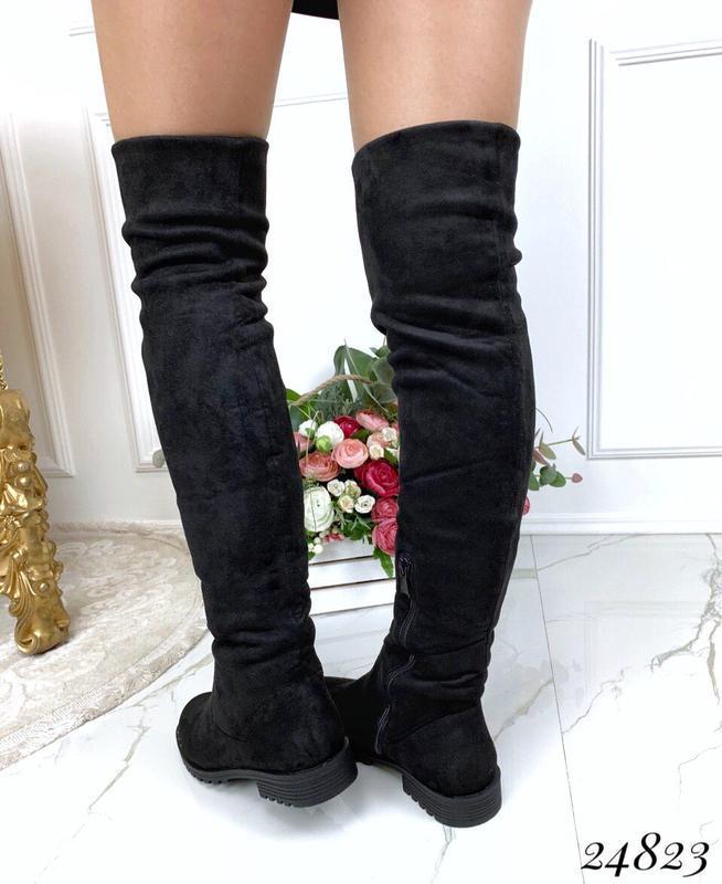 Зимние сапоги ботфорты чёрного цвета,замшевые ботфорты на низк... - Фото 4