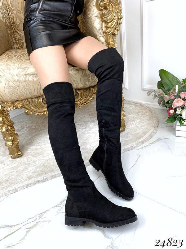 Зимние сапоги ботфорты чёрного цвета,замшевые ботфорты на низк... - Фото 5