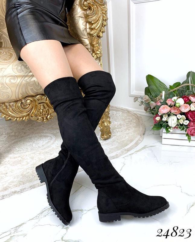 Зимние сапоги ботфорты чёрного цвета,замшевые ботфорты на низк... - Фото 6