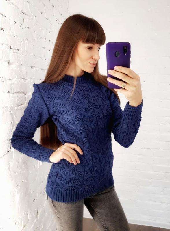 В'язаний светр синій