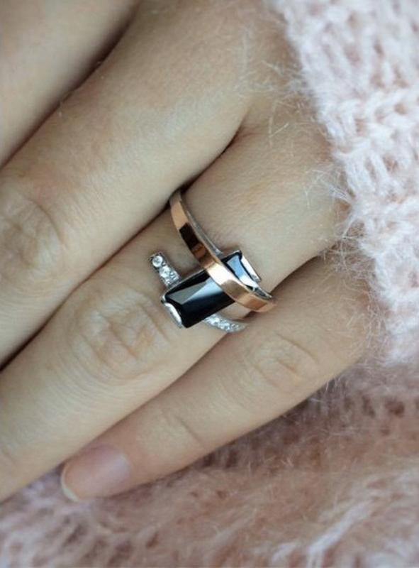 Кольцо серебро 925 с золотом сияние 660