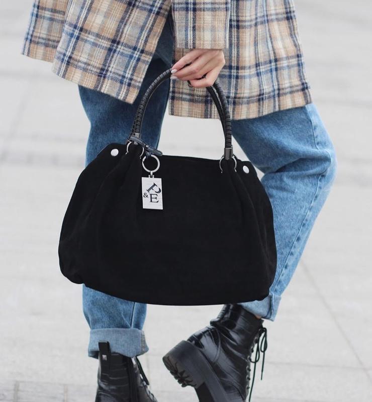 Женская замшевая сумка polina & eiterou чёрная жіноча замшева