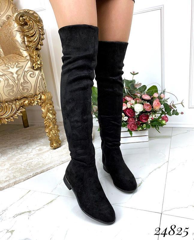 Зимние ботфорты на низком каблуке,высокие чёрные сапоги ботфор...