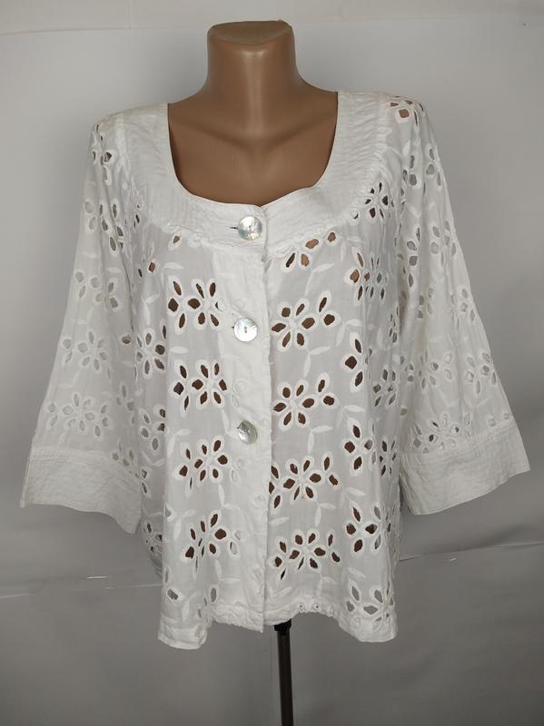 Блуза белая красивая хлопковая батистовка uk 14/42/l