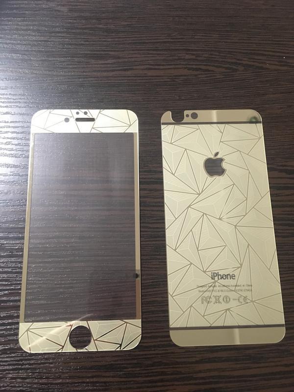 Стекло защитное на iPhone 6, iPhone 6S Золотая абстракция (ком...
