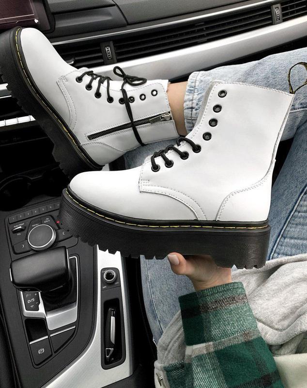 Женские зимние кожаные ботинки/ сапоги dr. martens jadon white...