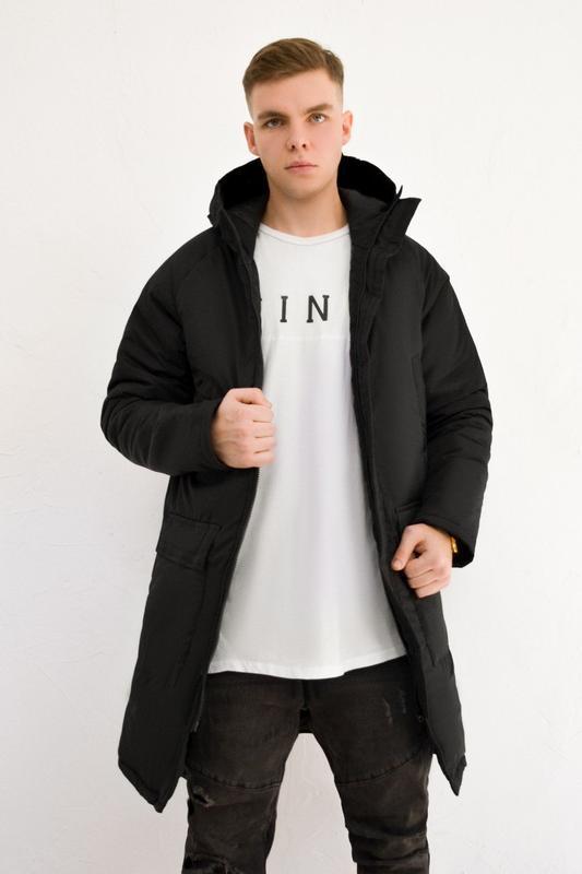 Мужская зимняя куртка удлиненная черная 🤗  с капюшоном и замками - Фото 3