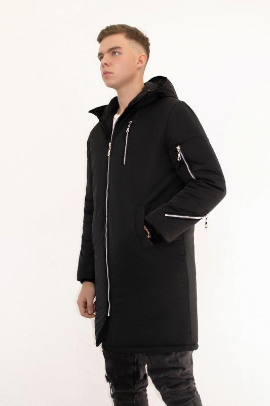 Мужская зимняя куртка удлиненная черная 🤗  с капюшоном и замками - Фото 4
