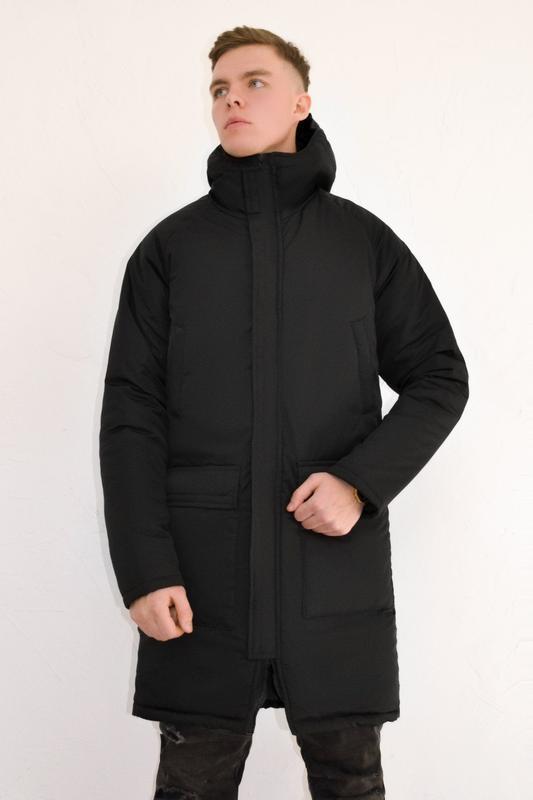 Мужская зимняя куртка удлиненная черная 🤗  с капюшоном и замками - Фото 5