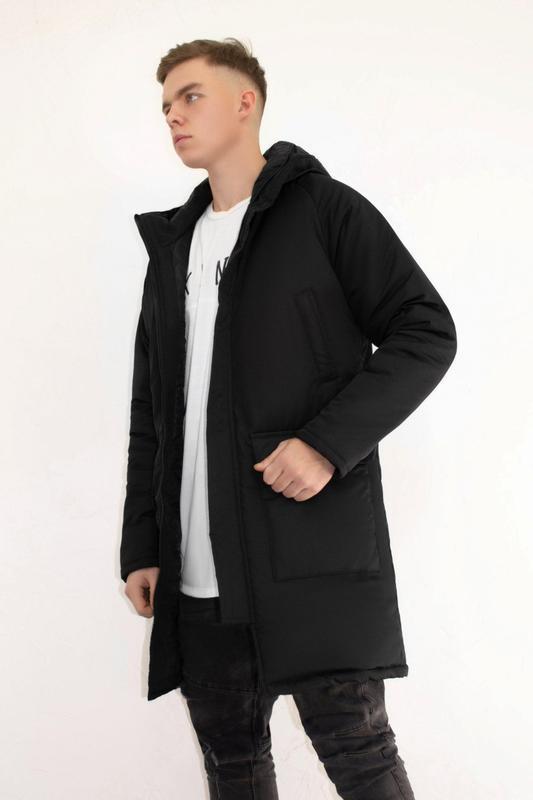 Мужская зимняя куртка удлиненная черная 🤗  с капюшоном и замками - Фото 6