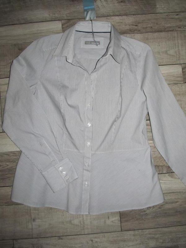 Стильная коттоновая рубашка с баской от m&s р. 14