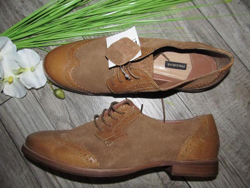 Натуральная кожа туфли оксворды pull&bear  р. 40 стелька 25,5 см