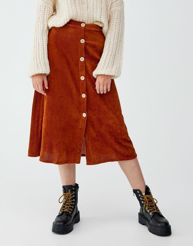Вельветовая юбка миди от pull&bear