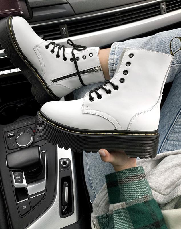 Dr. martens jadon white fur 🤗 женские зимние ботинки мартинс б...
