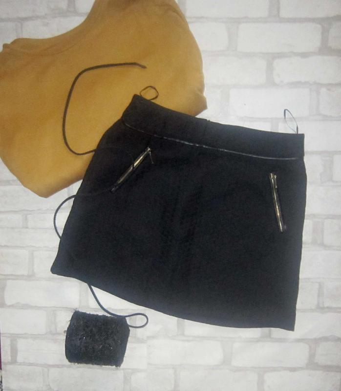 Мимишная стеганная юбка, со вставками кож зама