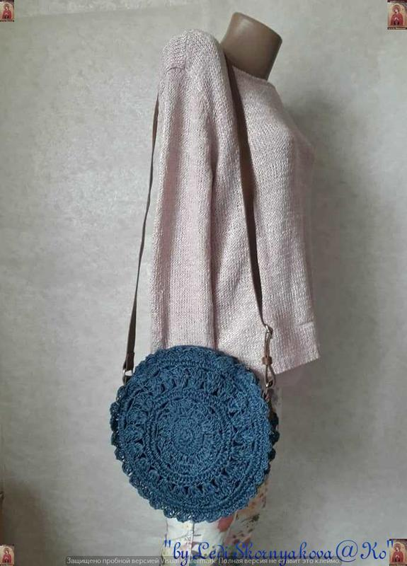 Новая круглая плетенная соломенная лёгкая нежная летняя сумка ...