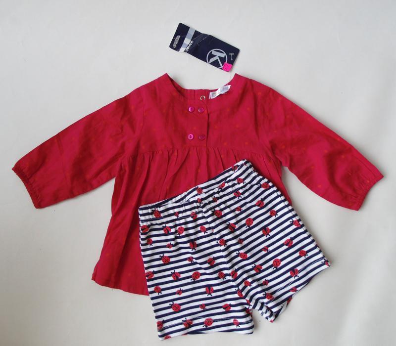 Рубашка в горох тонкая лето шорты 3- 6 мес, 67 см kitchoun pri...