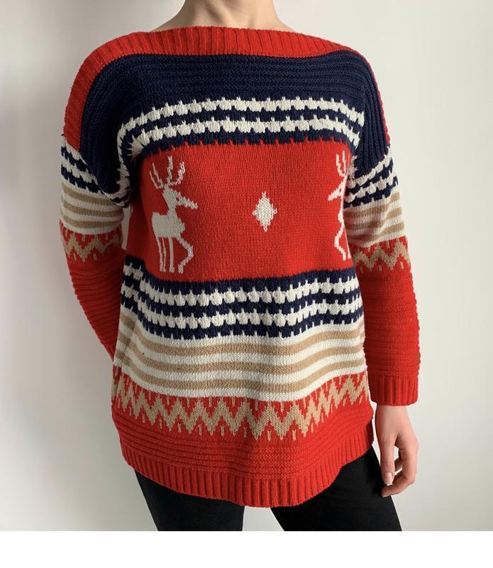 Кофта з оленями, яскрава кофта, світшот, тепла кофта, свитер.